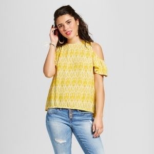 Xhiliration Yellow Cold Shoulder Blouse-Small